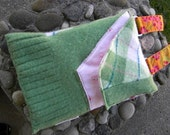 Small Green and Pink Argyle Felted Sweater Purse with Floral Strap by Rosy Toes Designs