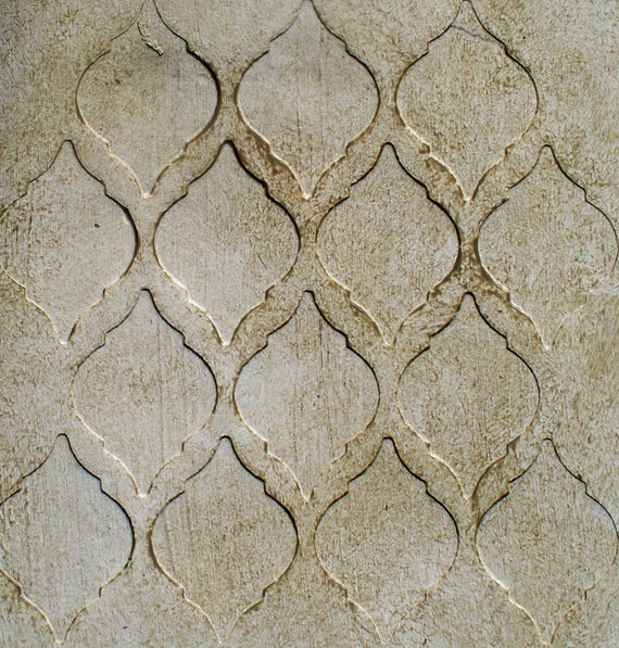 raised plaster stencil tile wallpaper paint by elegantstencils