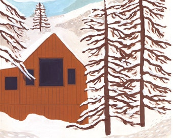 Merry and Bright Cabin Card // Set of 8