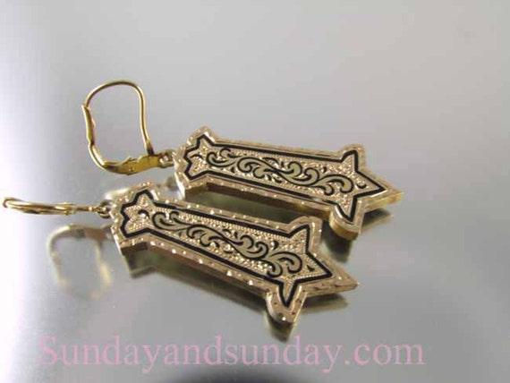 Antique Victorian 14k rose gold Taille d'epargné black enamel drop earrings