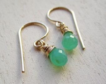 Genuine mint green chrysoprase faceted petite gemstone drop earrings