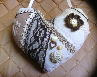 Small Chocolate Brown Heart Crazy Quilt Pillow