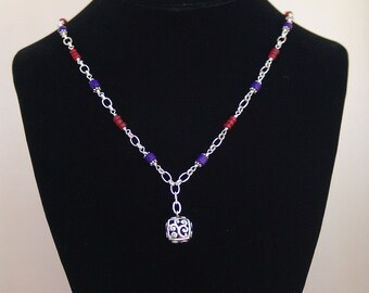Sterling Silver, Red and Blue Bead Necklace