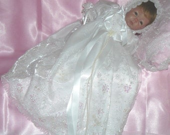 REBORN or BABY White Beaded Bridal Net Christening GOWN size 0-3 months