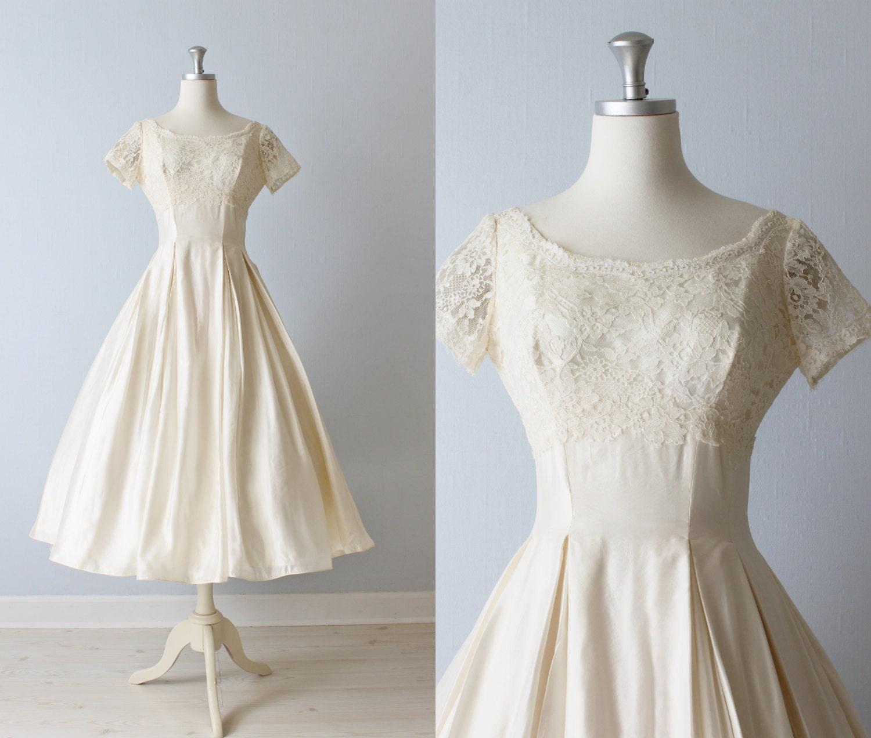 Reserved vintage tea length wedding dress 1950s wedding for 1950s tea length wedding dress