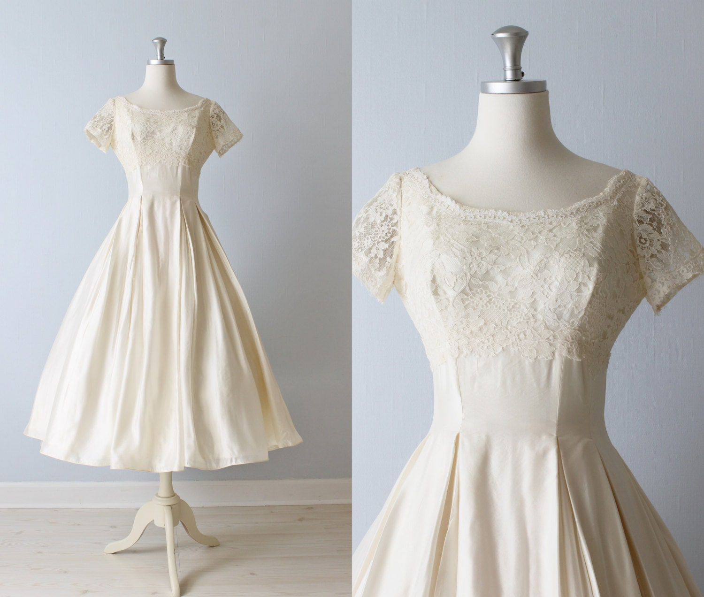 Reserved Vintage Tea Length Wedding Dress 1950s Wedding