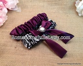 Simple Satin Deluxe Dual Color Bridal Garter Set with Delicate Pearl Accent..You Choose The Colors..shown in zebra/eggplant purple