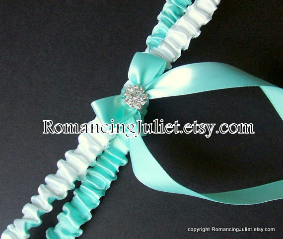 Simple Satin Dual Color Bridal Garter with Rhinestone Accent..You Choose The Colors..shown in white/aqua