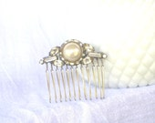 H9 Vintage Pearl Rhinestone Upcycled Bridal Collage WEDDING Hair Comb