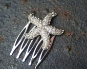 H138 STARFISH Vintage Upcycled Rhinestone Silver Beach Wedding Hair Comb