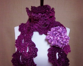 Queen Anne Scarf in Variegated Shades of Purple with Flower Pin Brooch - Ready To Ship Women's Crochet Scarf Girl's Long Scarf Orchid