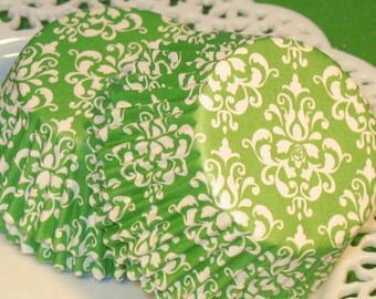 Lime Green Damask Cupcake Liners  (Qty 45)