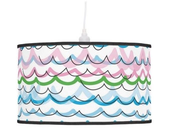 Fun striped lampshade childrens pendant lamp shade striped table lamp stand, colorful waves shade, tripod lamp decor, hanging drum shade