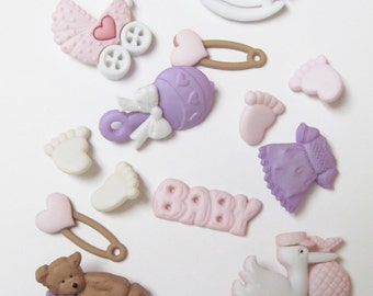 New Arrival Baby Girl Buttons  Set of  13 Pieces