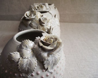 AVAILABLE IN 2 WEEKS - Three Vases with pink dots and roses  - Wheel thrown - Stoneware (grès) Vase