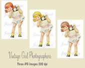 Photographer Girl Camera Vintage Digital Download Image Collage Large JPG Clipart