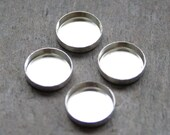 10mm - Four Round Sterling Silver Bezel Cups for Cabochons