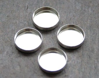 12mm - TWO Round Sterling Silver Bezel Cups for Cabochons