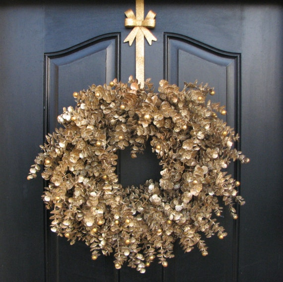 Gold Glitter Wreath Christmas Wreath Holiday Cheer Gold