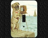 Brown Pug Dog at Beach Vintage Painting Switch Plate Covers Toggle/Rocker/Outlet