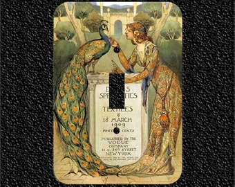 1909 Vogue Cover Woman and Peacock Single Light Switch Plate Covers - Toggle or Rocker or Outlet