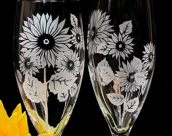 2 Sunflower Toasting Flutes, Fine Crystal Champagne Flutes, Rustic Summer Wedding Gift