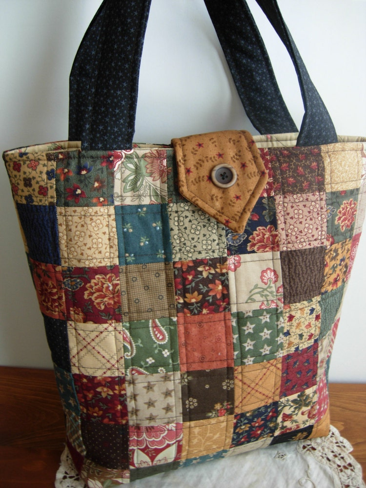 Sweet Pea Quilted Tote Bag Purse Patchwork Bag By