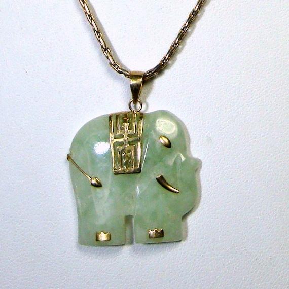 Jade Elephant Pendant Gold Chain Trunk Up Stylized Soft Aqua