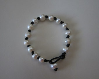 Black Knotted Leather Wrap Bracelet with Freshwater Pearls