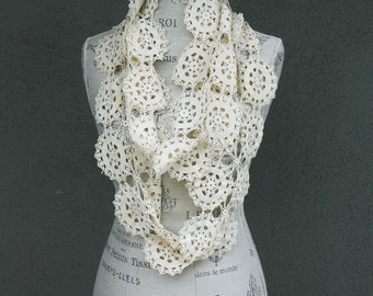 Vintage Ivory Lace Infinity Boho Scarf Vintage Women's Fashion Accessory Loop Scarf Ivory, holiday fashion