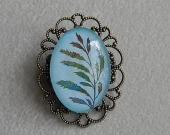Ornate Filligree Bronze Brooch -  Blue and Green