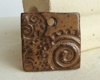 Ceramic Pendant Funky Chunky Flowers, Copper Brown, handmade from brown stoneware clay