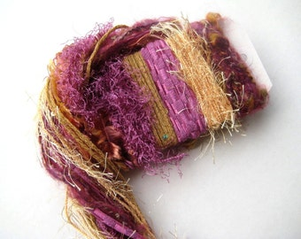 GOLDEN ROYALS Specialty Yarn Fiber Embellishment Bundle - Altered Arts, Jewelry, etc - 5 or more bundles for 10% discount