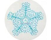 Embroidery Pattern Blue Snowflake Christmas Winter PDF