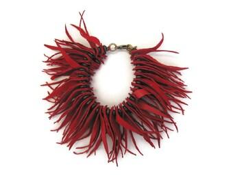 Leather Fringe Cuff in Red. Statement Jewelry. Bohemian Jewelry