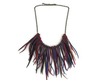 Gypset Jewel Tones Leather Fringe Bib Necklace. Boho Chic Style Necklace. Leather Jewelry