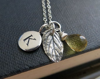 Mint leaf & initial necklace, personalized jewelry, autumn jewelry, nature charm birthstone, gift for her