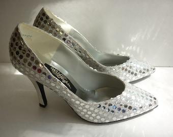 1980s DISCO Ball Shoes Sliver Spangle Stilettos SZ 8 Dancing Queen
