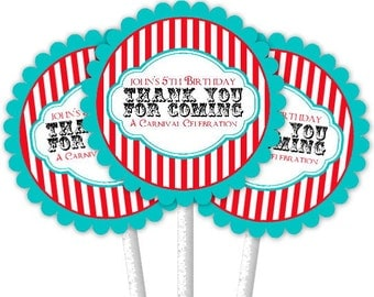 24 Carnival Cupcake Toppers, Circus Cupcake Toppers, Custom Cupcake Toppers, Birthday Cupcake Toppers, Carnival Toppers