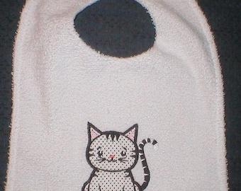 Polka dot kitty toddler bib