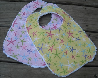 Set of 2 Pretty Baby Girl Bibs, Bright and Colorful Starfish, Chenille Back, Snap Closure