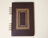 vintage upcycled spiral bound journal, burgundy and gold