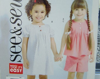Butterick B4489 Girls Dress Pattern, SALE Girl's Top, Shorts and Dress, Very Easy to Sew, Toddler Girls, See & Sew Pattern Size 2 - 5