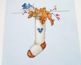 Fall Cross Stitch Stocking, Hand Embroidery, Fall Cross Stitch Sampler, Bluebird Nest, Autumn Sampler, Embroidered Needlework, Wall Decor