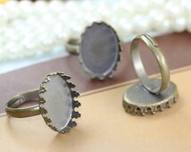Ring Blanks -- 10pcs Adjustable Antique Bronze Ring Base 13x18mm pad L05499--20% OFF