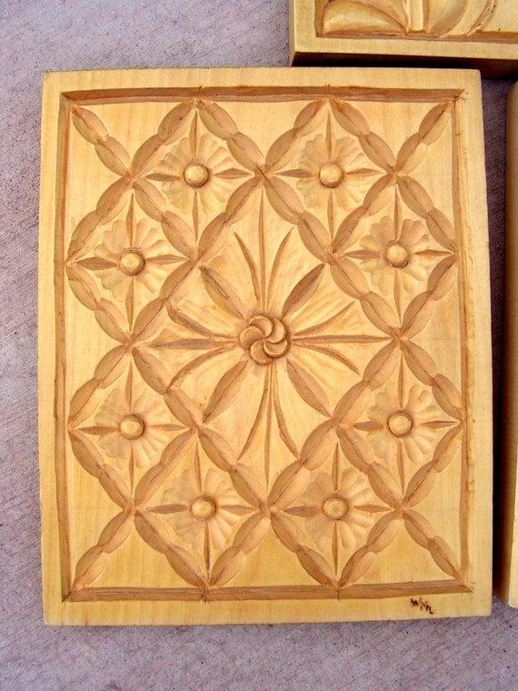 Vintage flower wood carving relief panel bill loewen folk art