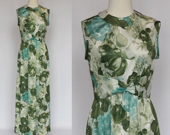 70's  Floral Maxi Dress / Knit Gown / Sleeveless / Green / XSmall to Small