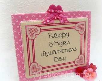 13004 Singles Awareness Anti-Valentine Cross Stitch PDF Pattern - DIGITAL DOWNLOAD