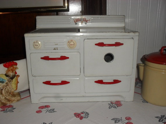 Vintage Tin Stove Little Chef Child Sized Toy 1940 S