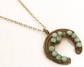 Reserved for elle Sterling Turquoise enamel Victorian necklace horseshoe mosaic good luck Native American Naja Zuni